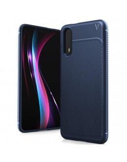 Carcasa protectie spate din piele ecologica si gel TPU pentru Huawei P20, albastra inchis