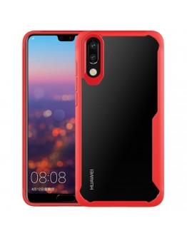 Carcasa protectie spate din plastic si gel TPU pentru Huawei P20, rosie
