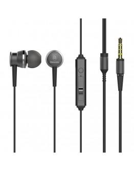Casti in-ear Baseus Lark Series cu control pe fir si microfon, gri inchis