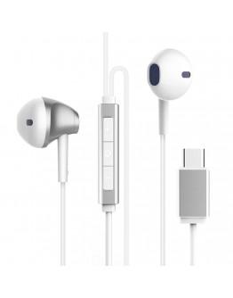 Casti in-ear Baseus B51 cu control pe fir si microfon, conexiune USB Type-C, albe
