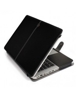 """Husa protectie din piele ecologica pentru Macbook Air 13.3"""", neagra"""