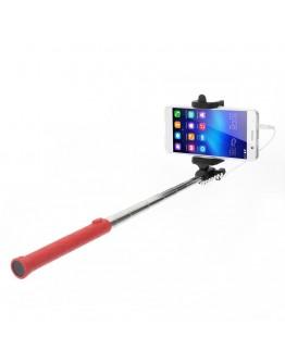 Selfie Stick extensibil cu fir de 3,5mm - rosu