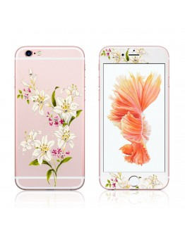 """Pachet sticla securizata fata si spate 0.3 mm imprimata """"Lily"""" pentru iPhone 6s / 6 4.7 inch"""