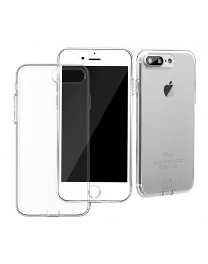 Carcasa protectie spate cu dopuri anti-praf pentru iPhone 7 Plus, transparenta