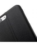 Carcasa protectie spate din piele ecologica si plastic pentru iPhone 8 Plus / 7 Plus 5.5 inch , neagra