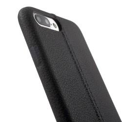 Carcasa protectie spate din piele ecologica si plastic pentru iPhone 7 / Phone 8, neagra