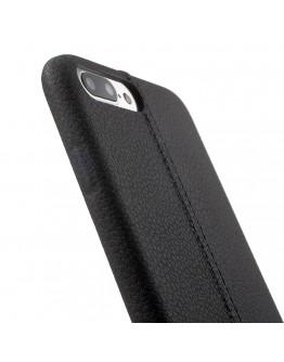 Carcasa protectie spate din piele ecologica si plastic pentru iPhone 8 / 7 4.7 inch, neagra