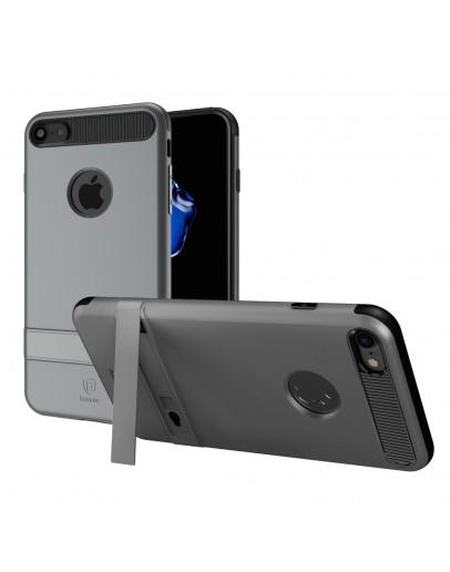 Carcasa protectie spate BASEUS din plastic si gel TPU cu suport pentru iPhone 7 4.7 inch, gri