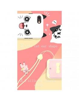 """Carcasa protectie spate KINGXBAR imprimata """"Pisica"""" pentru iPhone 7 Plus / iPhone 8 Plus, alba"""