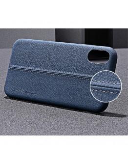 Carcasa protectie spate din piele ecologica si plastic pentru iPhone X 5.8 inch, albastra