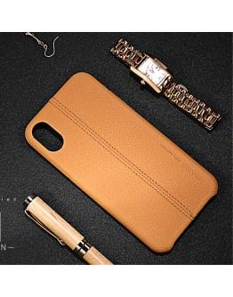 Carcasa protectie spate din piele ecologica si plastic pentru iPhone X 5.8 inch, maro