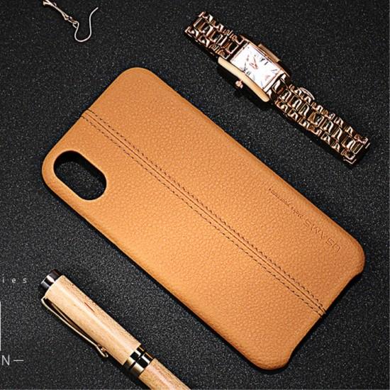 Carcasa protectie spate din piele ecologica si plastic pentru iPhone X/Xs 5.8 inch, maro