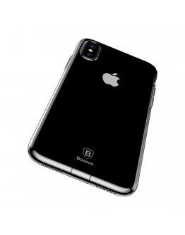 Carcasa protectie spate din gel TPU cu dopuri anti-praf pentru iPhone X/Xs 5.8 inch, transparenta