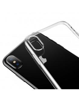 Carcasa protectie spate din gel TPU cu dopuri anti-praf pentru iPhone X 5.8 inch, transparenta