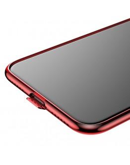 Carcasa protectie spate din gel TPU cu dopuri anti-praf pentru iPhone X 5.8 inch, rosie