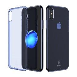 Carcasa protectie spate din gel TPU cu dopuri anti-praf pentru iPhone X/Xs 5.8 inch, albastra