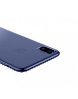 Carcasa protectie spate din gel TPU cu dopuri anti-praf pentru iPhone X 5.8 inch, albastra
