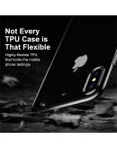 Carcasa protectie spate din gel TPU cu dopuri anti-praf pentru iPhone X 5.8 inch, neagra