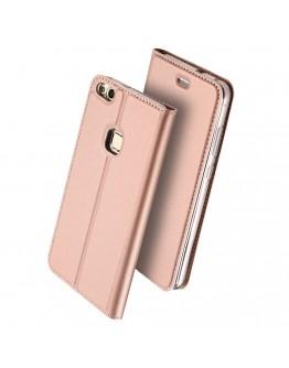 Husa de protectie din plastic si piele ecologica DUX DUCIS pentru Huawei P10 Lite, rose gold