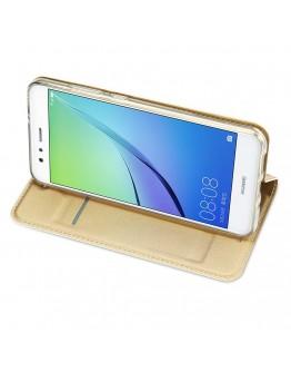 Husa de protectie din plastic si piele ecologica DUX DUCIS pentru Huawei P10 Lite, gold