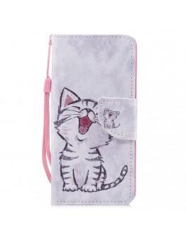 Husa protectie imprimata ,,Pisica'' din piele ecologica pentru Huawei P20 Lite