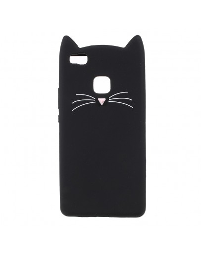 "Carcasa protectie spate ""Pisica"" pentru Huawei P9 Lite, Neagra"
