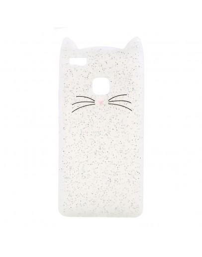 "Carcasa protectie spate ""Pisica"" pentru Huawei P9 Lite, Alba"