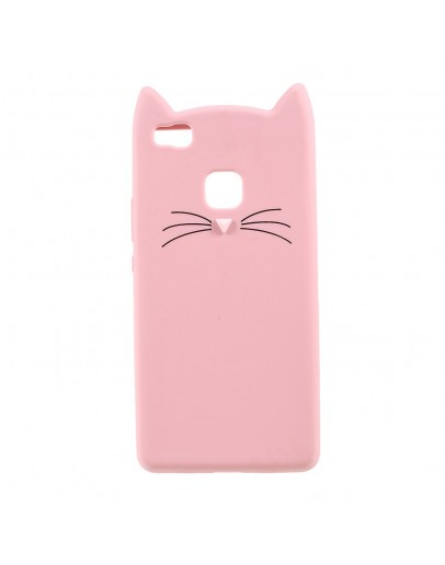 "Carcasa protectie spate ""Pisica"" pentru Huawei P9 Lite, Roz"