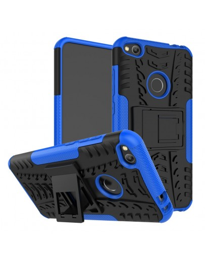 Carcasa protectie spate anti-alunecare pentru Huawei  P9 Lite 2017 / P8 Lite 2017, albastra