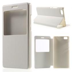 Husa protectie cu fereastra pentru Huawei Ascend P8 Lite - alba
