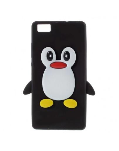 Carcasa protectie pinguin pentru Huawei Ascend P8 Lite - neagra