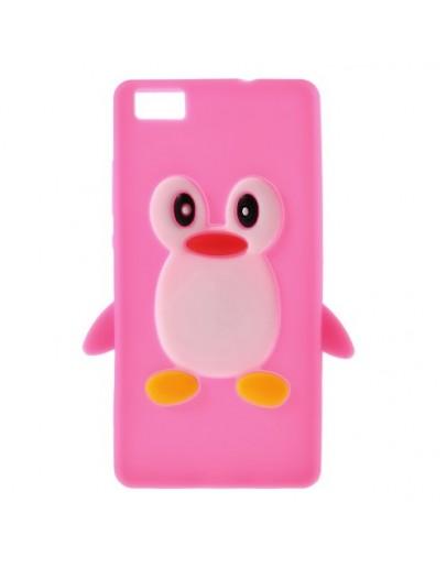 Carcasa protectie pinguin pentru Huawei Ascend P8 Lite - rosie