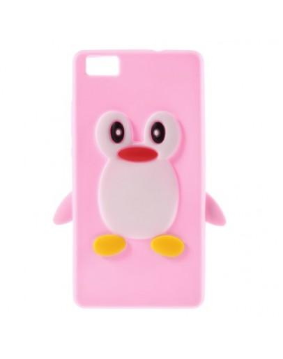 Carcasa protectie pinguin pentru Huawei Ascend P8 Lite - roz