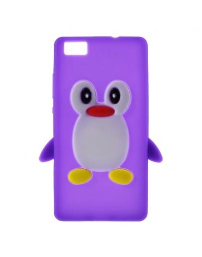 Carcasa protectie pinguin pentru Huawei Ascend P8 Lite - mov