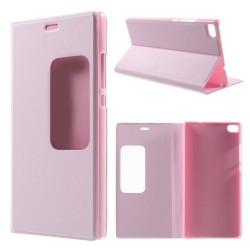 Husa protectie cu fereastra pentru Huawei Ascend P8 - roz