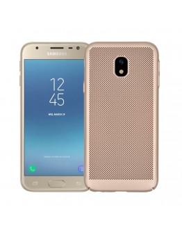 Carcasa protectie spate din plastic tip mesh pentru Samsung Galaxy J3 (2017), gold