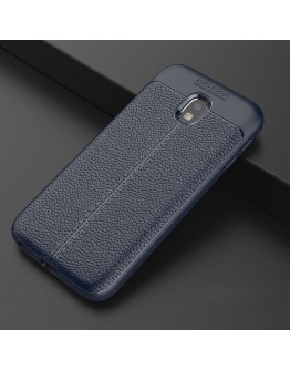 Carcasa protectie spate din piele ecologica si gel TPU pentru Samsung Galaxy J3 (2017), albastra inchis