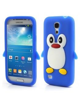 Carcasa protectie spate pinguin din silicon pentru Samsung Galaxy S4 mini I9190 - albastra