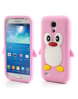 Carcasa protectie spate pinguin din silicon pentru Samsung Galaxy S4 mini I9190 - roz