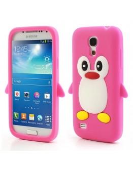 Carcasa protectie spate pinguin din silicon pentru Samsung Galaxy S4 mini I9190 - roz inchis