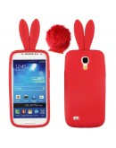 "Carcasa protectie spate ""Iepuras"" din silicon pentru Samsung Galaxy S4 MINI I9190 - rosu"