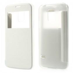 Husa de protectie flip cover cu ferestra pentru Samsung Galaxy S5 mini - alba