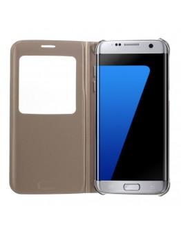 Husa de protectie de tip flip cover cu fereastra pentru Samsung Galaxy S7 Edge G935, gold