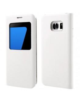 Husa de protectie de tip flip cover cu fereastra pentru Samsung Galaxy S7 Edge G935, alba