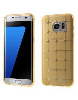 Husa de protectie din gel TPU cu model cub pentru Samsung Galaxy  S7 Edge G935, gold