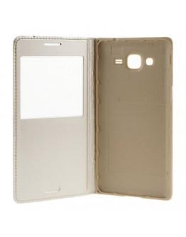Husa protectie flip cover cu fereastra pentru Samsung Galaxy Grand Prime - gold