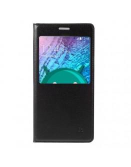 Husa protectie flip cover cu fereastra pentru Samsung Galaxy J5 - neagra