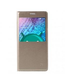 Husa protectie flip cover cu fereastra pentru Samsung Galaxy J5 - gold