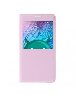 Husa protectie flip cover cu fereastra pentru Samsung Galaxy J5 - roz deschis