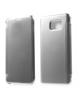 Husa de protectie flip cover cu suprafata oglinda pentru Samsung Galaxy Note 5 - gri